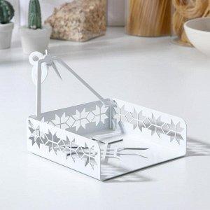 Салфетница «Снежинка», цвет белый