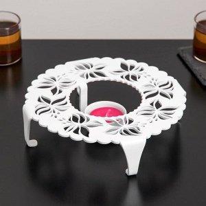 Подставка для подогрева «Бабочки», d=18,6 см, цвет белый