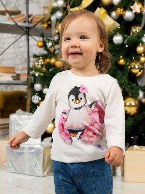 """Лонгслив """"Пингвиночка в пионах"""" для малышей"""