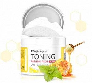 NIGHTINGALE TONING PEELING PADS HONEY Диски для мягкого кислотного пилинга кожи с медом