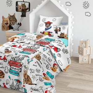 КПБ 1.5 поплин  (70х70) рис. 16075-1/16076-1/8672-5 Funny cats