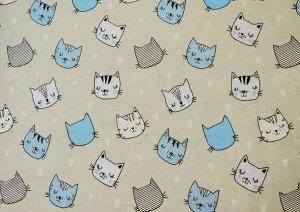Ткань Бязь - Котики (голубые) 0,5*1,5м