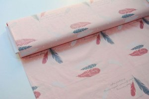 Ткань сатин - Перья на розовом фоне 0,5*1,6м