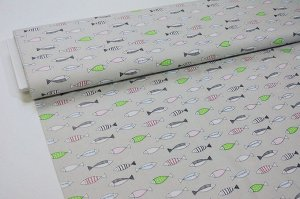 Ткань сатин - Рыбки на сером фоне 0,5*1,6м