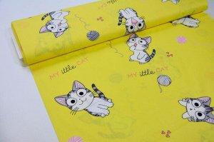 Ткань сатин - Котики на жёлтом фоне 0,5*1,6м