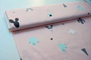 Ткань Сатин - Вигвам, кактусы на розовом фоне 0,5*1,6м