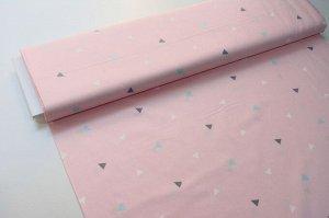 Ткань Сатин - Треугольники на розовом фоне 0,5*1,6м