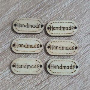 Бирка деревянная Handmade 12*24мм набор 6шт