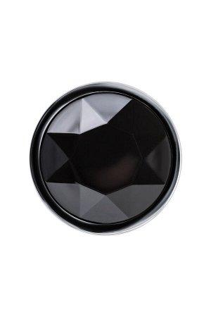 Анальный страз Штучки-Дрючки, серебристый, с кристаллом, чёрный