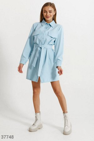 Платье-рубашка голубого цвета