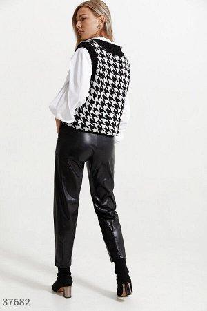 Кожаные брюки свободного кроя