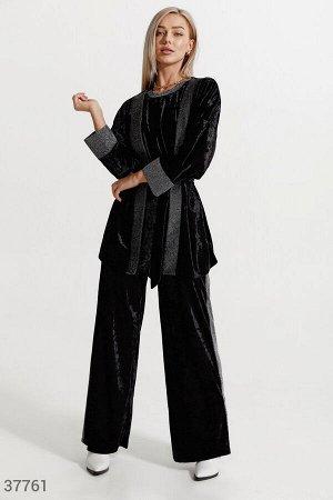 Бархатный черный костюм-тройка