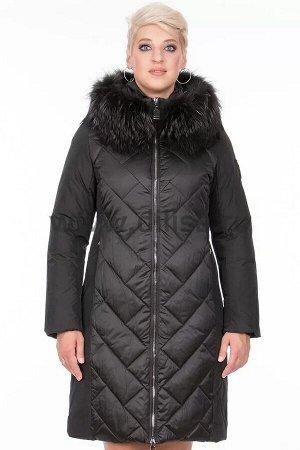 Пальто с мехом Mishele 320026 Е_Р (Черный FA24)