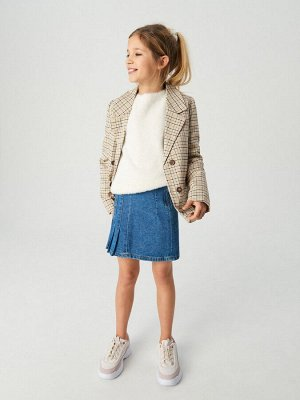 Джинсовая мини-юбка с плиссировкой