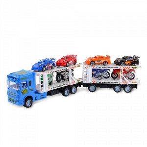 Набор машинок Handers Трейлер с прицепом:супер гонки (4 квадр,4 машин, трейлер 58 см) цв. синий