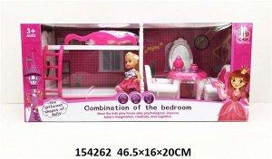 Кукла с набом мебели, кор.46,5*16*20 см