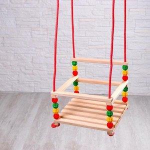 Качели детские, подвесные, деревянные