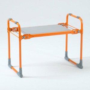 Скамейка-перевёртыш садовая складная 56х30х42,5 см, оранжевая, макс. нагр. 100 кг, с мягким