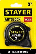 STAYER АutoLock 3м / 16мм рулетка с автостопом