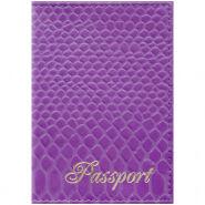 """Обложка для паспорта OfficeSpace """"Питон"""" кожа, сирень"""