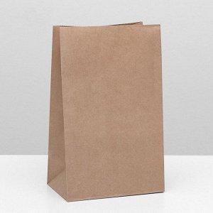 Пакет крафт бумажный фасовочный, прямоугольное дно 18 х 12 х 29 см