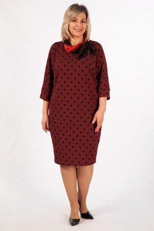 Платье .бежевый/синий, Бордовый/синий,  темно-синий/розовый. Элегантное платье в горошек, выполнено из приятного к телу, мягкого трикотажа. Свободный крой и рукав «летучая мышь» обеспечивают комфортну