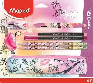 """Maped. Набор из 8 предметов: """"Tatoo"""" пенал,ластик,точилка,ручка 4 цв., 2 черногр. каранд арт.899708"""