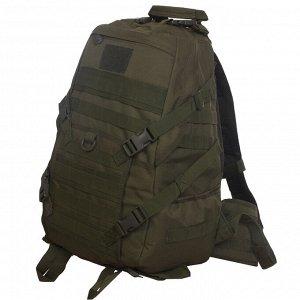 Рюкзак под снаряжение хаки-оливковый (30 л) (CH-058) №138 - Два боковых кармана для фляг, термосов или бутылок. Удобная ручка для переноски, расположенная сверху. Множество строп для утяжки рюкзака по