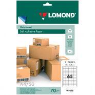 Бумага самоклеящаяся А4 50л. Lomond, белая, 65 фр. (38*21,2), 70г/м2