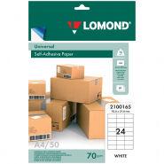 Бумага самоклеящаяся А4 50л. Lomond, белая, 24 фр. (70*37), 70г/м2