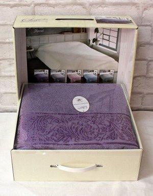 Покрывало 200*220 хлопок (подарочная коробка) YAPRAK фиолетовый