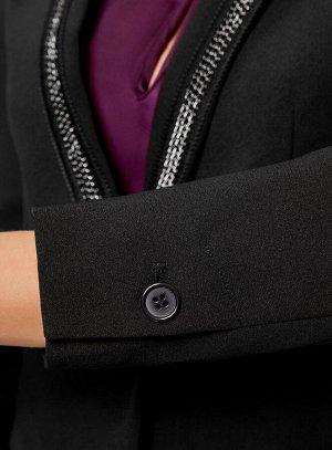 Жакет приталенный с декором на лацканах Черный