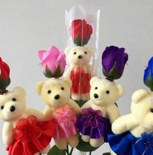 Подарочный набор Мишка с розой из мыла
