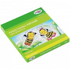 """Пластилин восковой мягкий Гамма """"Пчелка"""", 12 цветов, 180г, со стеком, картон. упак."""