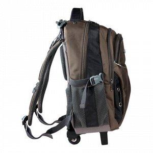 "Рюкзак для школы и офиса BRAUBERG ""Jax 1"", 30 л, размер 43х33х23 см, ткань, на колесах, черно-коричневый, 224458"