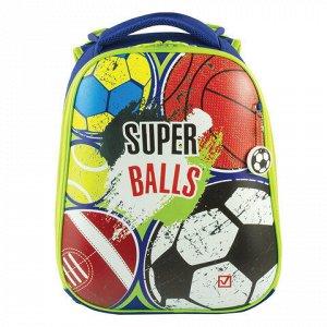 """Ранец BRAUBERG PREMIUM, 2 отделения, с брелоком, для мальчиков, """"Супер-мячи"""", 38х29х18 см, 227822"""