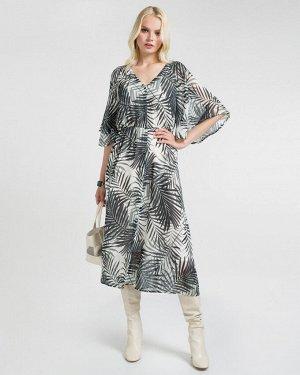 Платье жен. (001824) зелено-белый