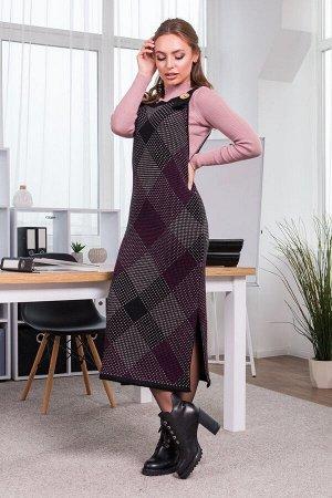 Теплое платье-сарафан в клетку «Хлоя» (черный, капучино, темная фуксия)
