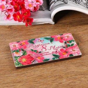"""Купюрница на магнитах """"8 марта. Розовые цветы"""", дерево, лакированная, 10х19 см"""