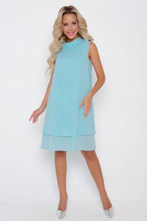 """Платье Ткань: Креп-шифон- (п/э 75 вискоза 20 эластан 5) Шикарное платье для молодой особы. Эффект двух слойности - тренд сезона! Фасон """"трапеция"""", ворот стойка с драпировкой. По спинке элегантный бан"""