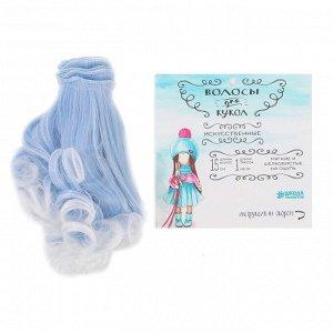 Волосы - тресс для кукол Завитки №LSA011. Цвет голубой, седой