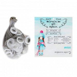 Волосы - тресс для кукол Завитки №LSA003. Цвет графит, седой