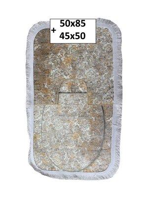 Набор ковриков 2-х пр. с бахромой для ванны туалета в ассортименте (50*85/45*50) мраморный бежевый