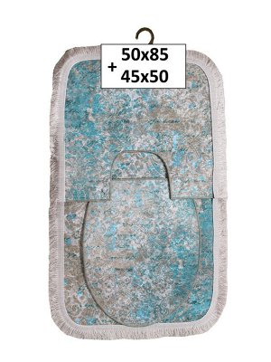 Набор ковриков 2-х пр. с бахромой для ванны туалета в ассортименте (50*85/45*50) мраморный голубой