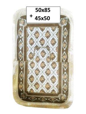 Набор ковриков 2-х пр. с бахромой для ванны туалета в ассортименте (50*85/45*50) розовые узоры кофе