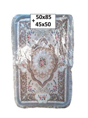 Набор ковриков 2-х пр. с бахромой для ванны туалета в ассортименте (50*85/45*50) бежевый с обводкой