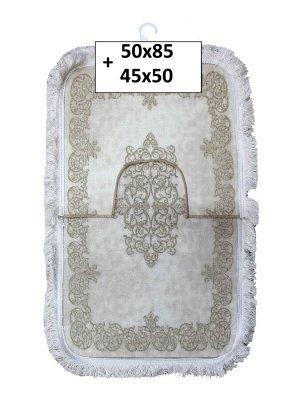 Набор ковриков 2-х пр. с бахромой для ванны туалета в ассортименте (50*85/45*50) бежевый с узорами
