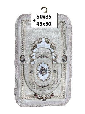 Набор ковриков 2-х пр. с бахромой для ванны туалета в ассортименте (50*85/45*50) розы бежевый