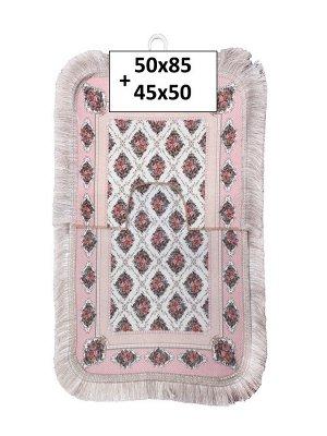 Набор ковриков 2-х пр. с бахромой для ванны туалета в ассортименте (50*85/45*50) розовые узоры розов