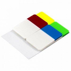 Закладки-выделители листов клейкие BRAUBERG пластиковые, 38х25 мм, 4 цвета х 20 листов, 126696
